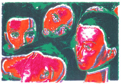 Printmakers Info Presents Print Exchange Three - Nathen newby - A Face in the crowd